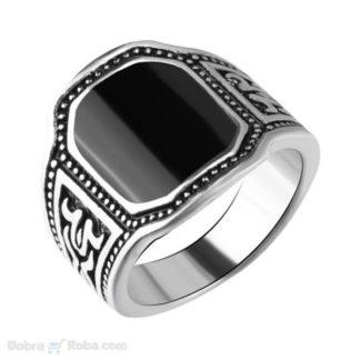 muški prsten sa crnim kamenom od nerđajućeg čelika