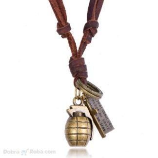 bomba kožna ogrlica za muškarce sa pločicom motivaciona poruka nakit