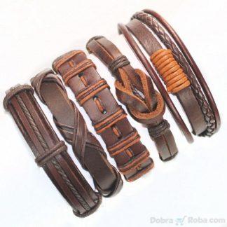Unikatne kožne narukvice u braon boji napravljene od veštačke kože , vrlo dugotrajne