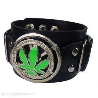 Marihuana Kožna Narukvica i Čelik Unikatna Narukvica List Trave