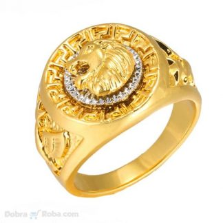 Muški prsten zlatni lav od nerđajućeg čelika veliko prstenje veće veličine 22mm