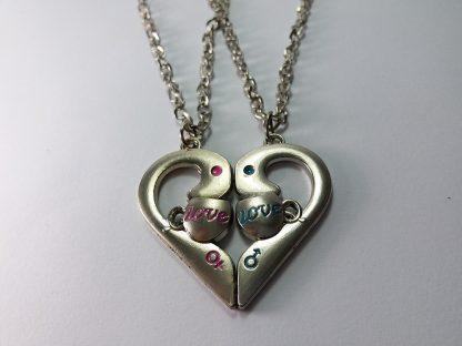 love you čaša ogrlice srce iz dva dela lančići nakit
