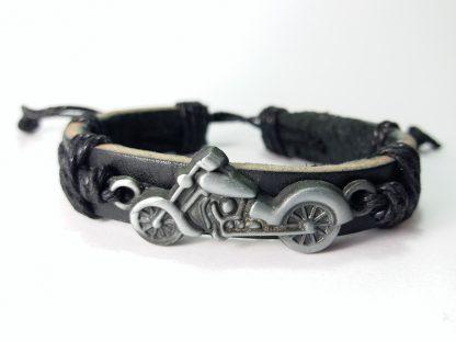 Crno Siva narukvica od kože i čelika čoper kruzer bajkerska nakit