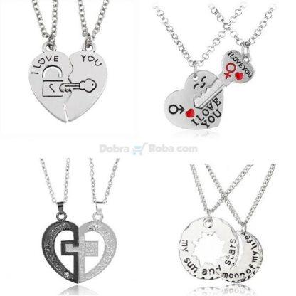 Ogrlice iz Dva Dela za Dečka i Devojku Poklon za zaljubljene preko 20 različitih kombinacija samo 450 dinara
