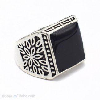 muški prsten crni kamen model broj 6