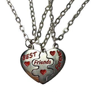 tri ogrlice best friends forever - 3 lančića srce iz tri dela