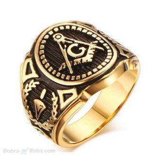 zlatni masonski prsten za muškarce