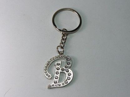 b slovo privezak za ključeve sa cirkonima