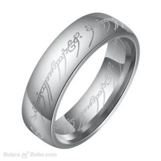 jedinstveni prsten za muškarce iz filma gospodar prstenova - prsten moći u sivoj boji laserski graviran