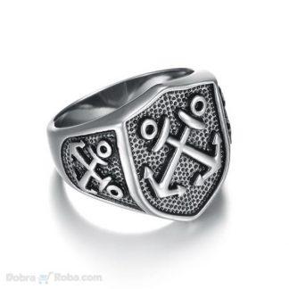 mornarski prsten za muškarce dva ukrštena sidra prsten od nerđajućeg čelika