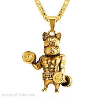 muška ogrlica strong bulldog od nerđajućeg čelika za muškarce