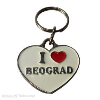 Privezak Volim Beograd u Srcu Privezak za Ključeve Love Belgrade