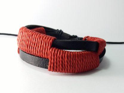 crvena pletena kožna narukvica za muškarce