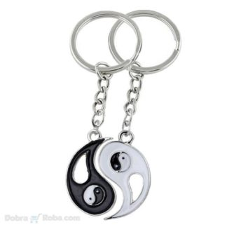 dva priveska jin jang poklon za zaljubljene dvodelni privezak yin ying yang