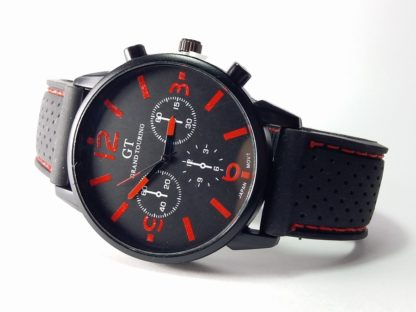 crni muški sat GT sa crvenim kazaljkama gumeni sat za muškarce