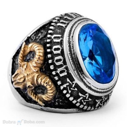 muški prsten sa plavim kamenom od hirurškog čelika srbija