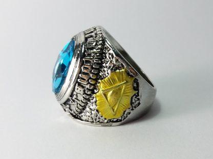 unikatni muški prsten sa imitacijom kamena u plavoj boji