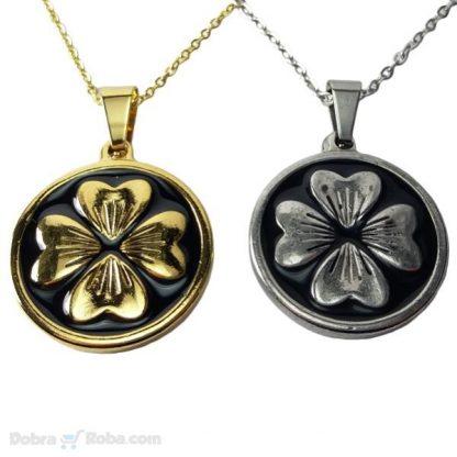 ogrlica detelina ogrlica medaljon siva zlatna lančić sa priveskom