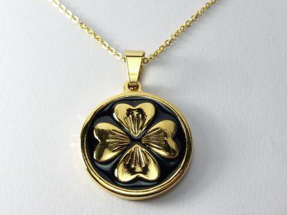 muško ženska ogrlica lančić medaljon detelina sa četiri lista