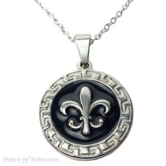ogrlica ljiljan u heraldici medaljon od nerđajućeg čelika