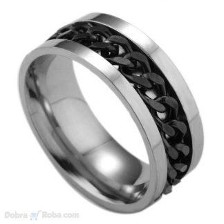 crni prsten lanac od hirurškog čelika